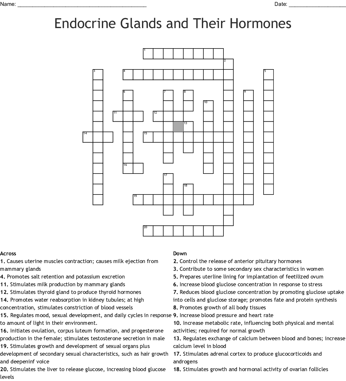 The Endocrine Glands and Their Hormone Crossword - WordMint