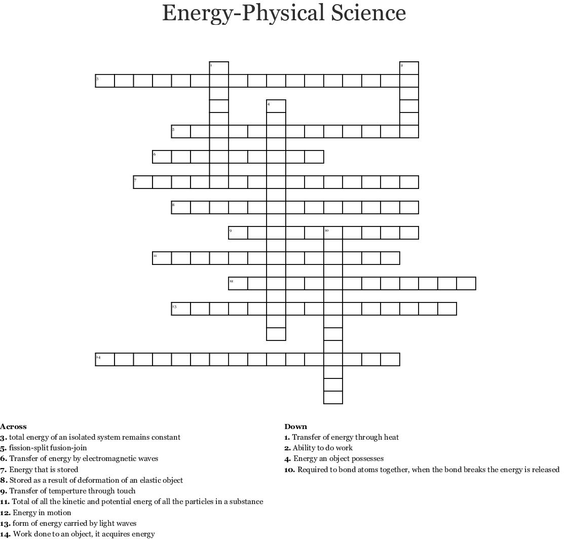 Work, Energy, and Power Crossword - WordMint