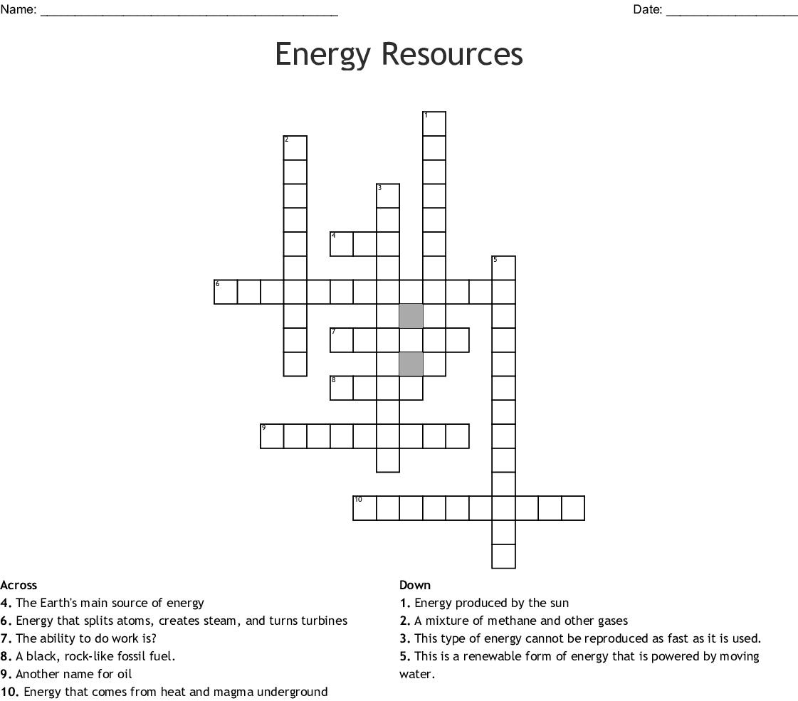 Geothermal Energy Crossword - WordMint