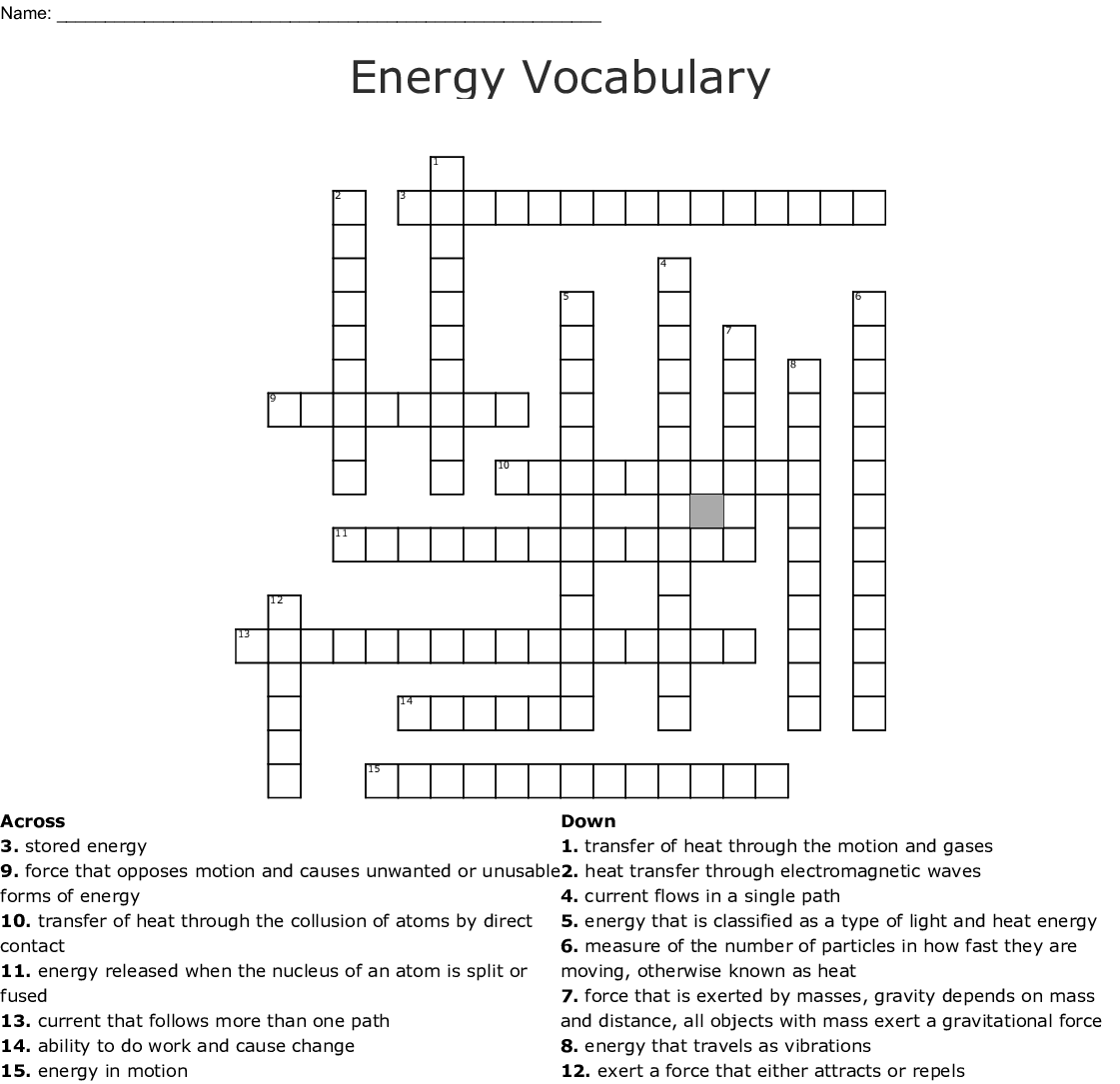 Energy Vocabulary Crossword - WordMint