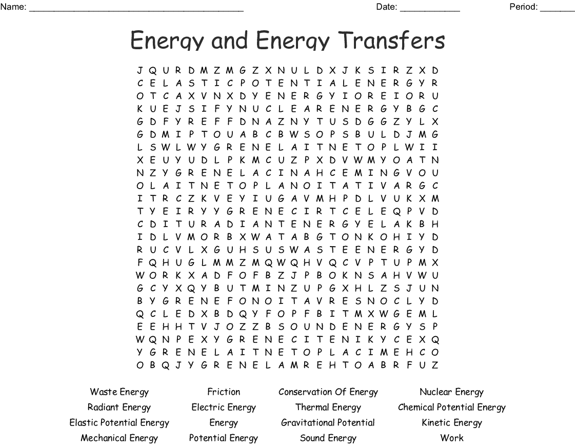 Energy and Energy Transfers Word Search - WordMint