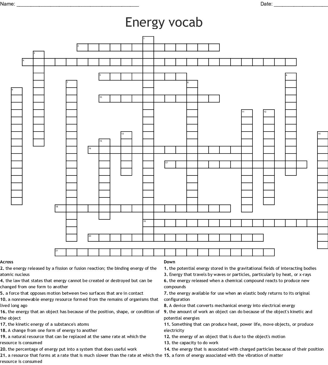 Energy vocab Crossword - WordMint