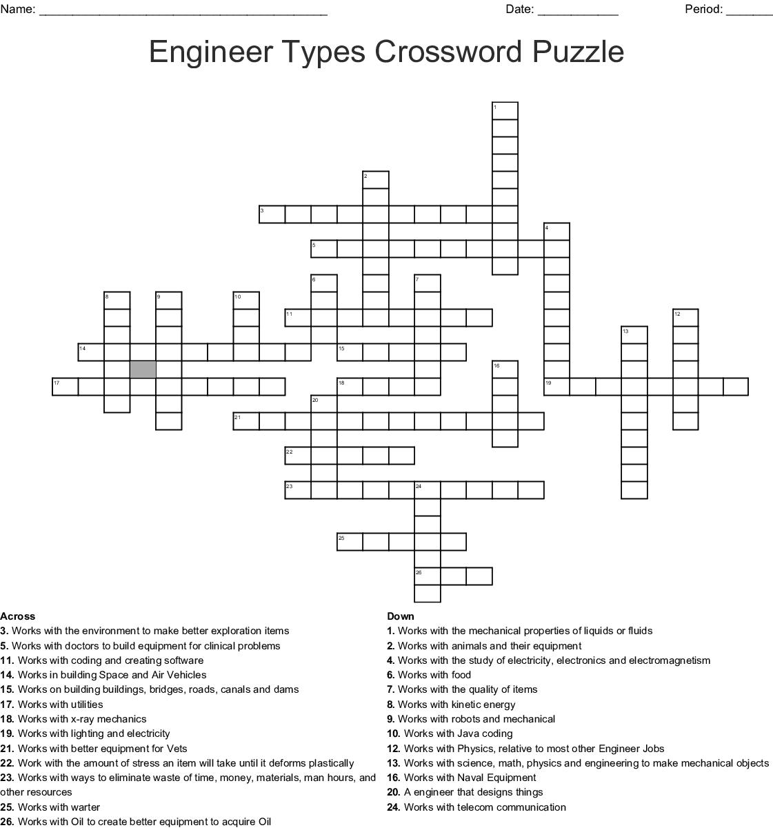 Engineer Types Crossword Puzzle Wordmint