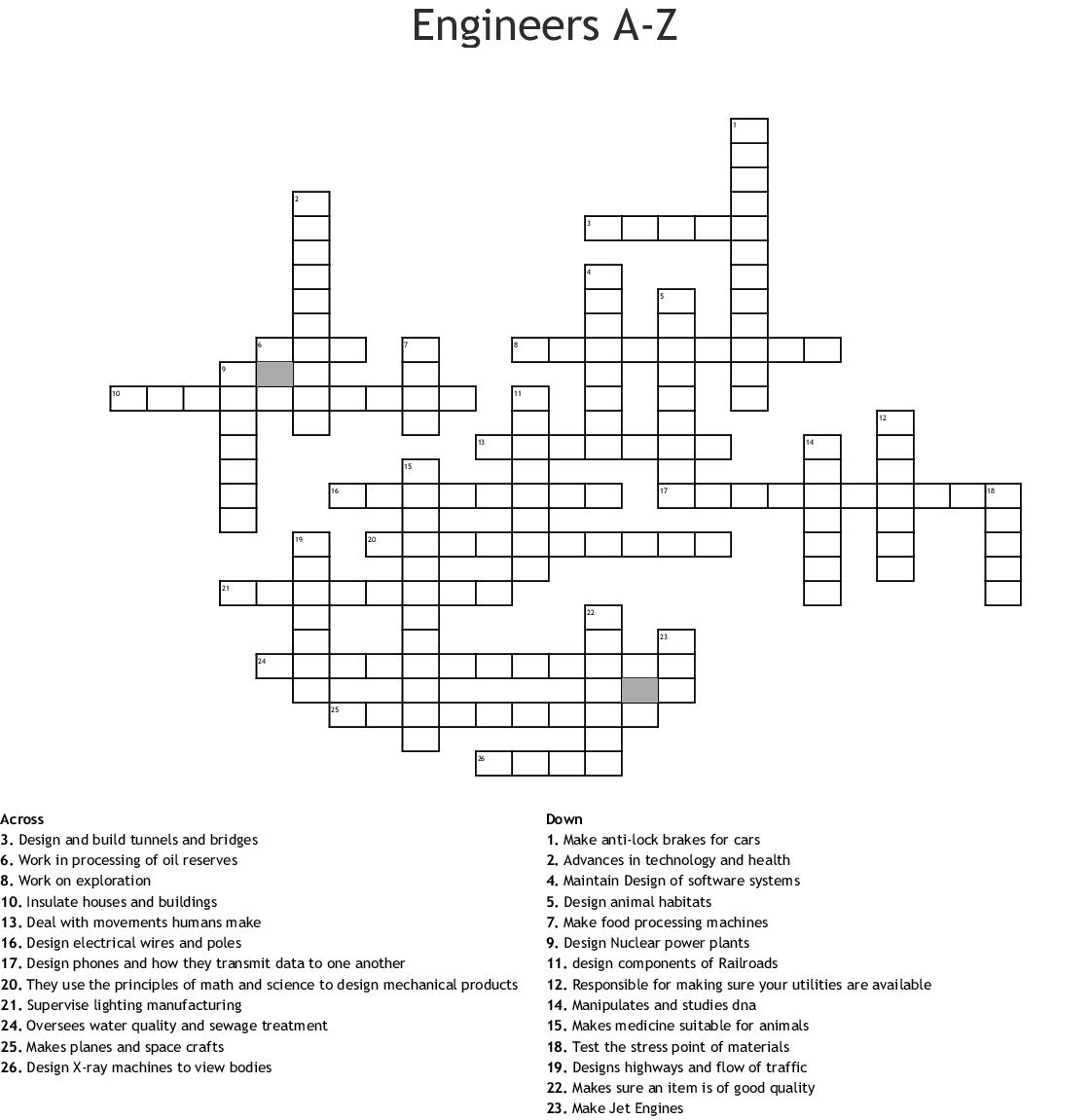 Engineers A To Z >> Engineers A Z Crossword Wordmint