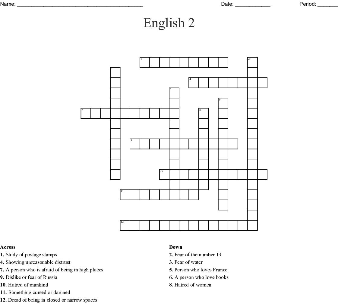 Phobias Crossword Wordmint