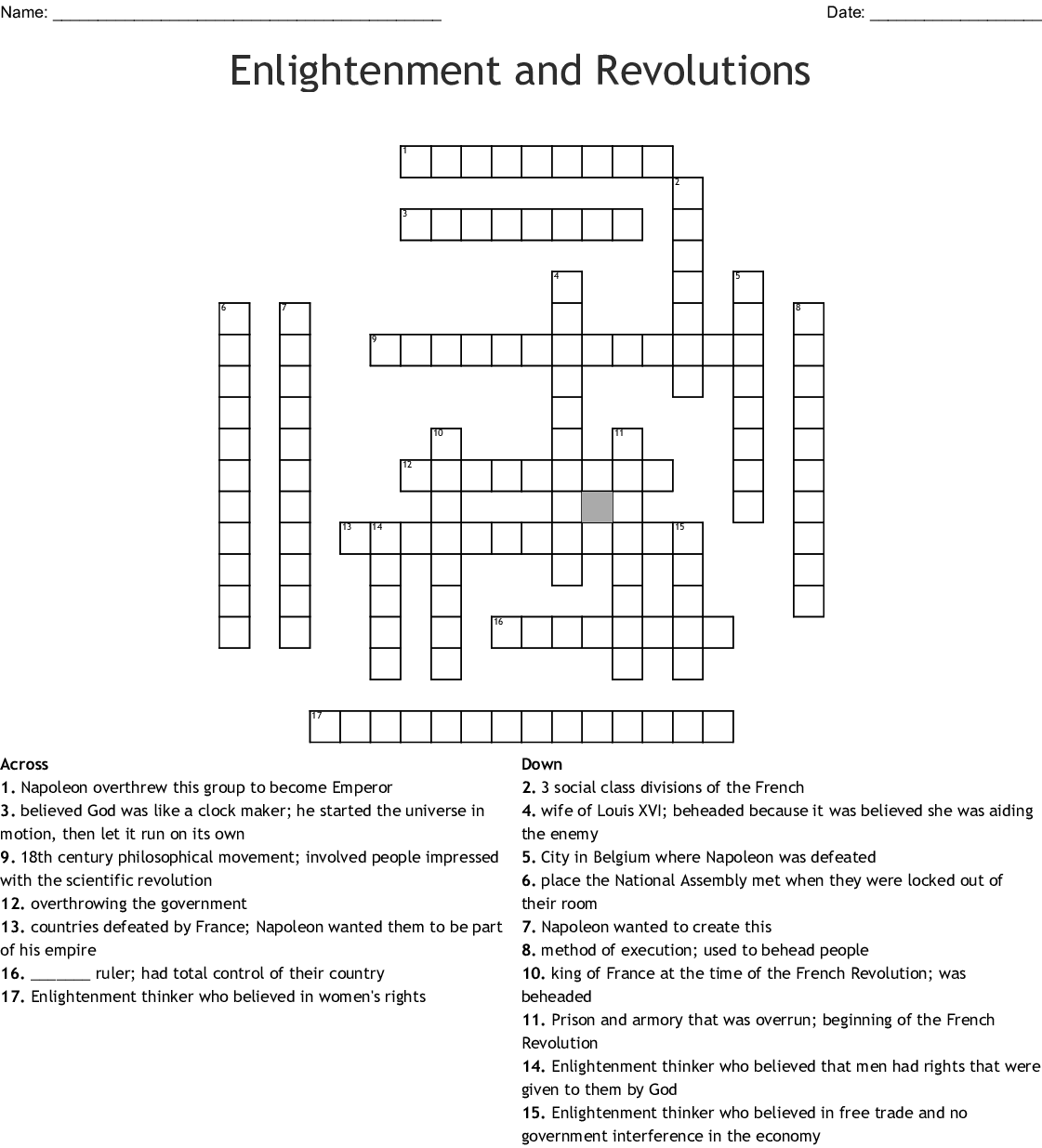 Enlightenment And Revolutions Crossword Wordmint