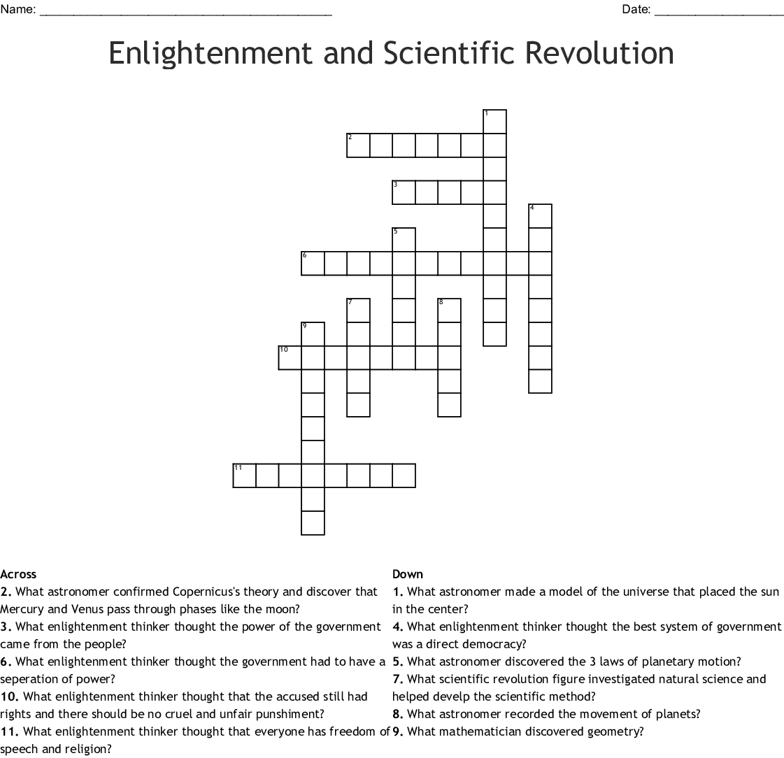 Enlightenment And Scientific Revolution Crossword Wordmint