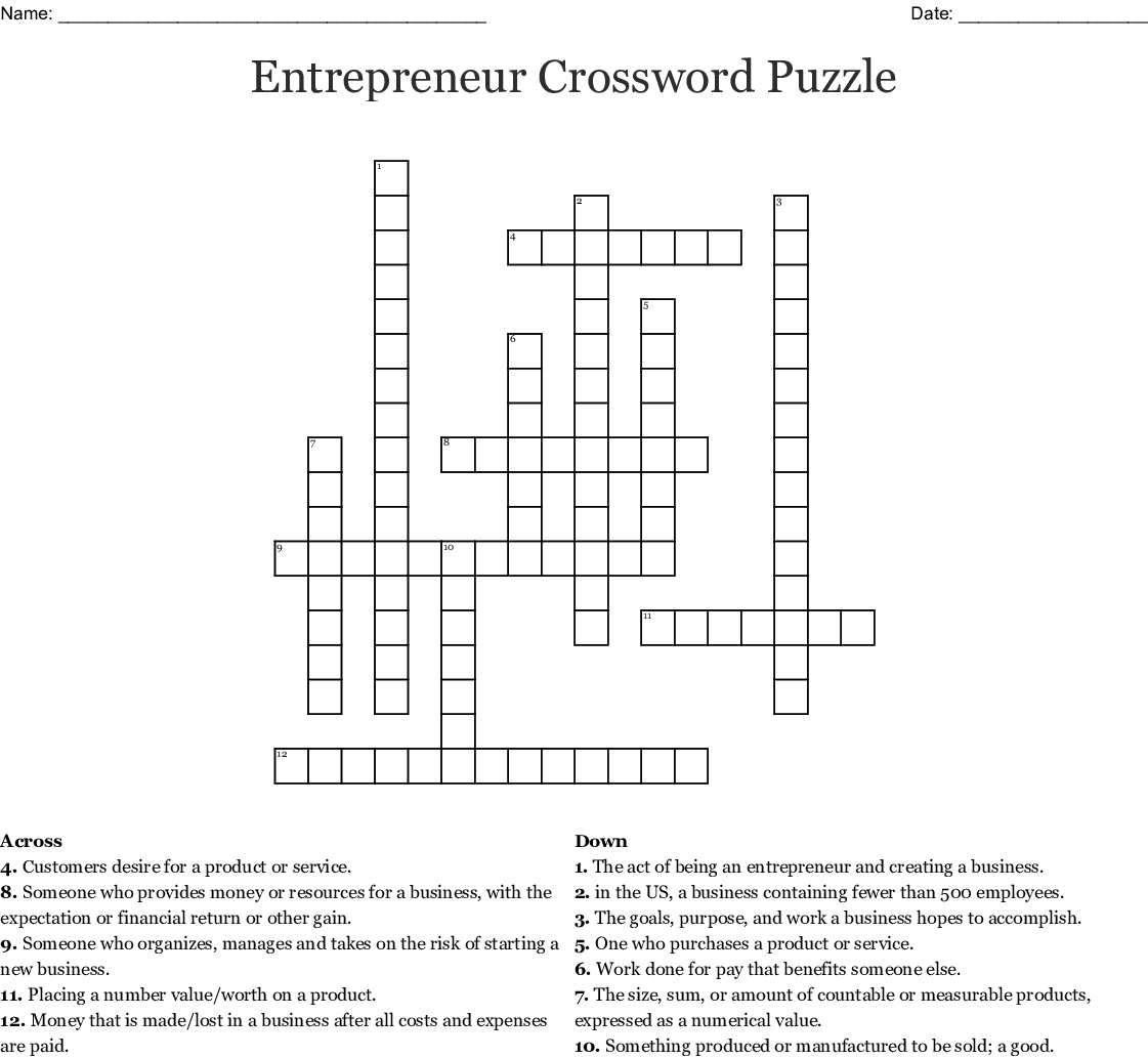 Entrepreneur Crossword Puzzle Wordmint