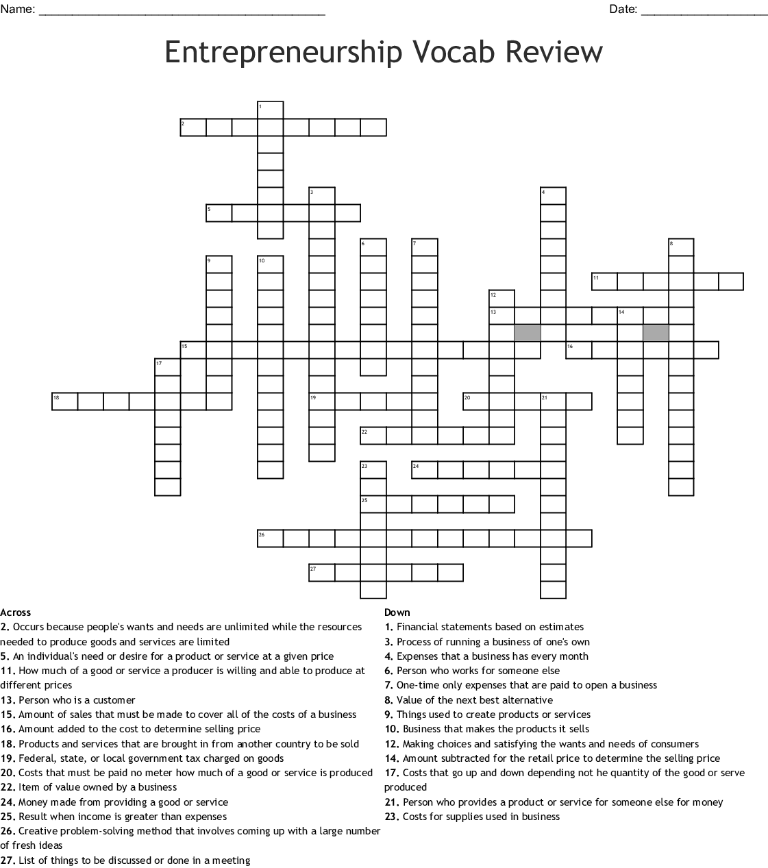 Entrepreneur Crossword Wordmint