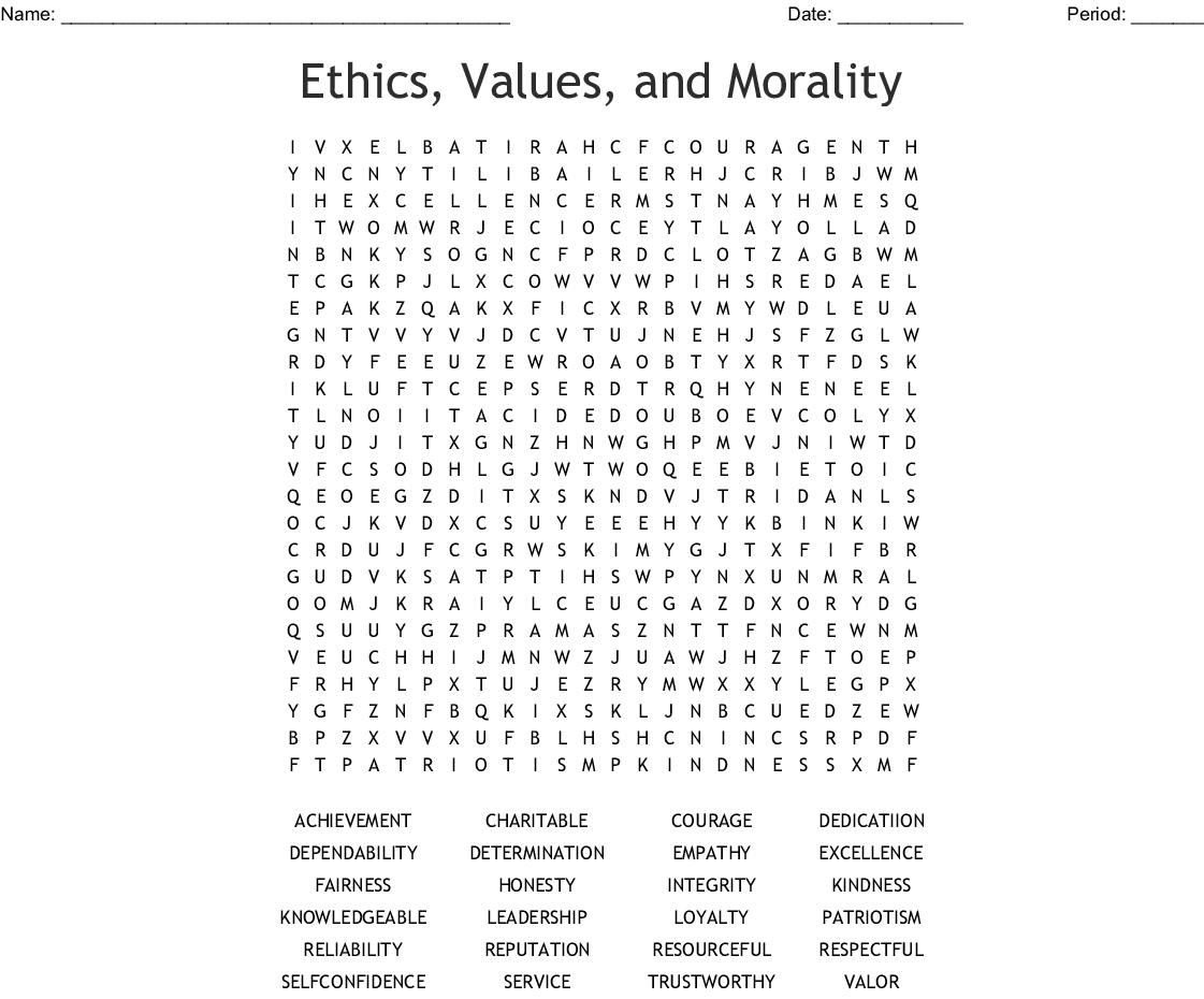 Business Ethics Word Search Wordmint