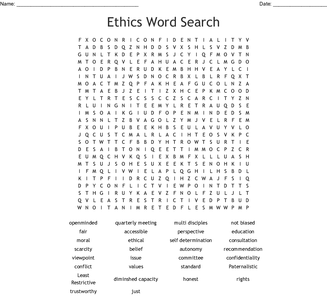 Ethics Word Search - WordMint