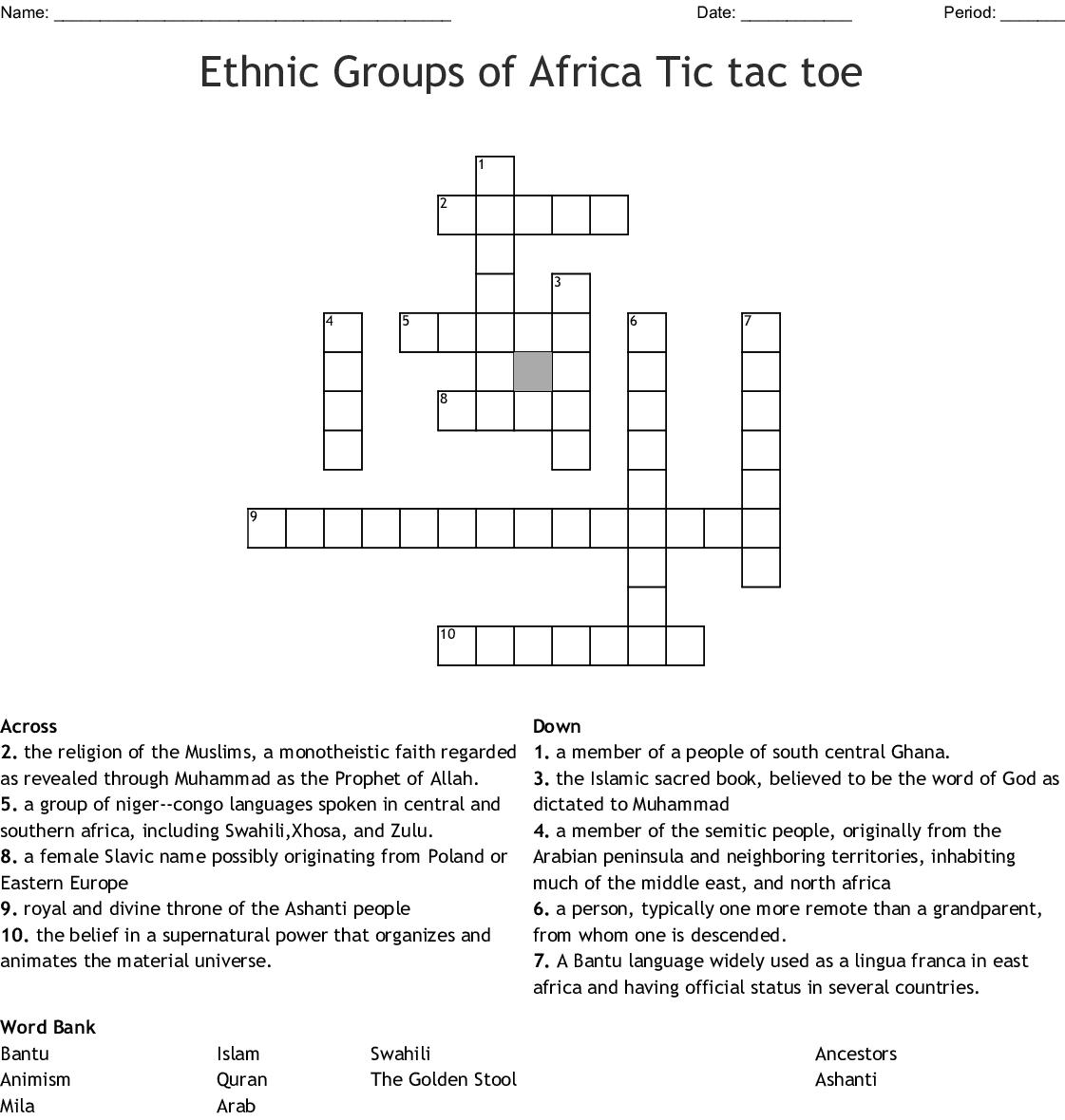 Africa S Ethnic Groups Crossword Wordmint
