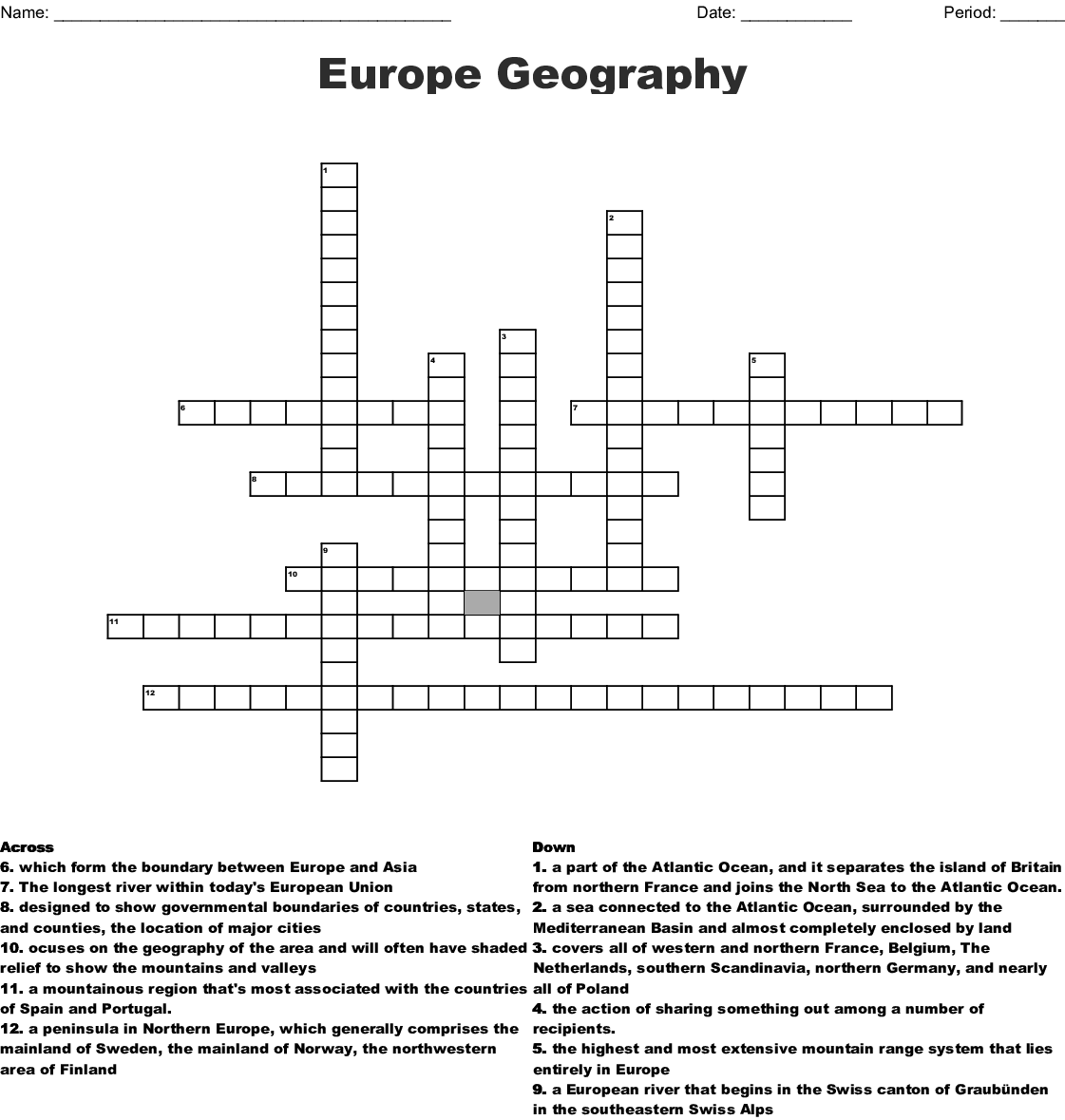 Picture of: Europe Geography Crossword Wordmint
