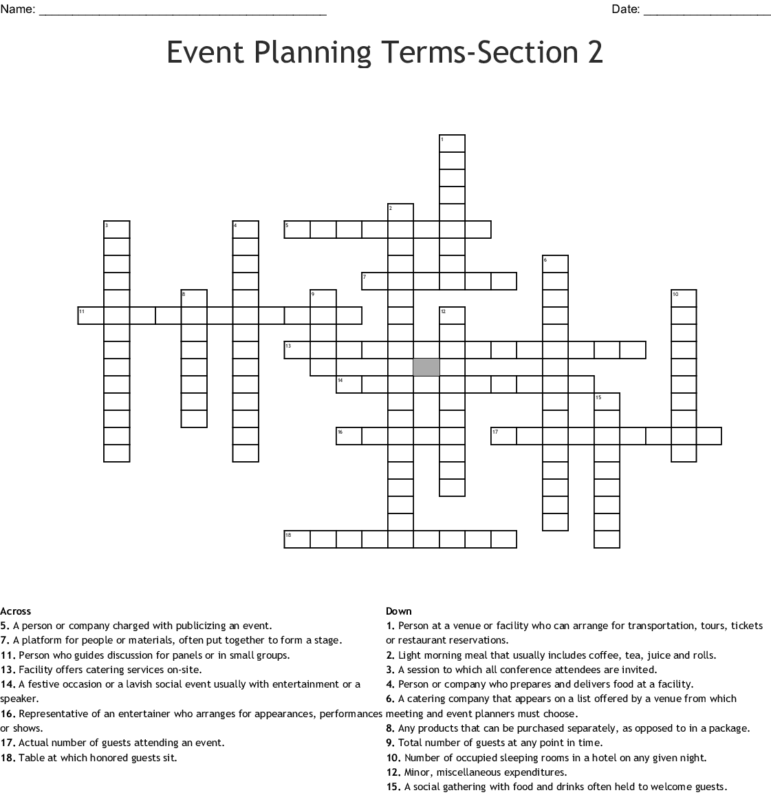 Event Planning Terms Section 2 Crossword Wordmint