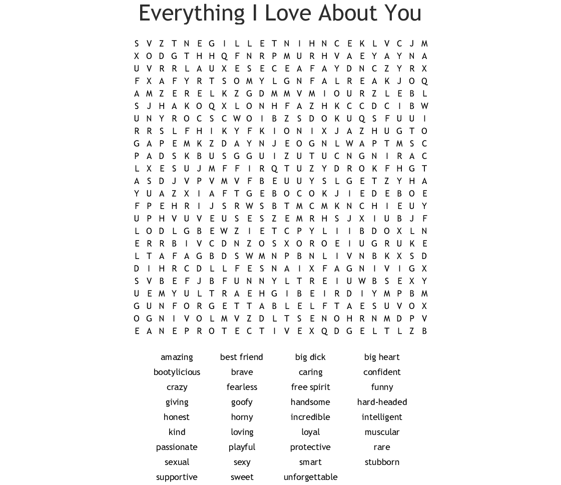 Reasons I Love You Word Search - WordMint