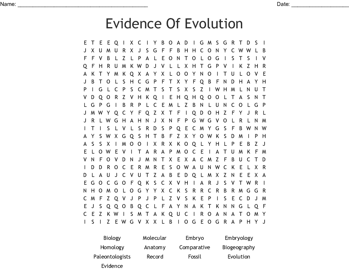 Evidence Of Evolution Word Search - WordMint