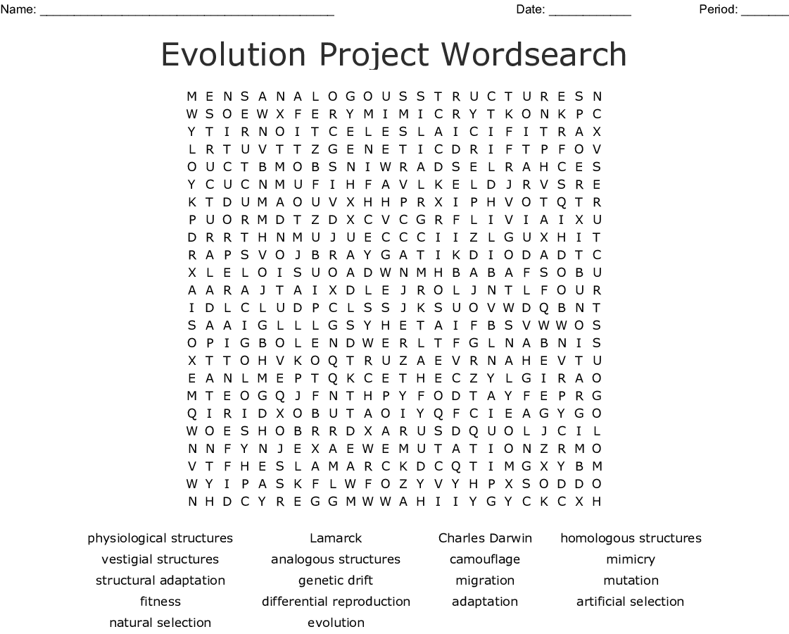 Evolution by Natural Selection Word Search - WordMint