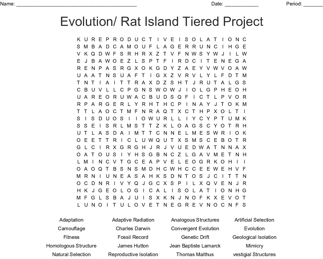 Evolution Wordsearch - WordMint