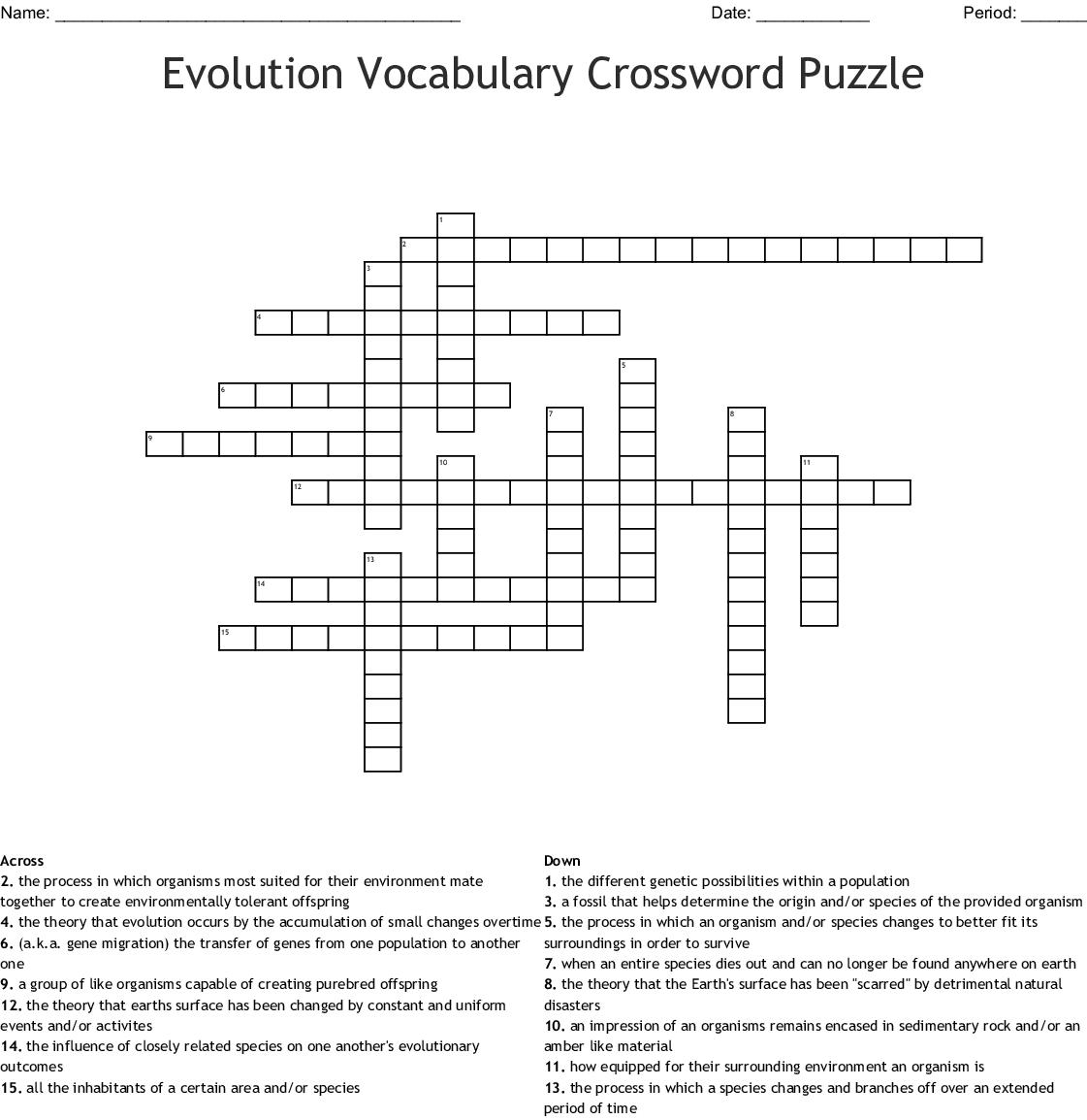 evolution Crossword - WordMint