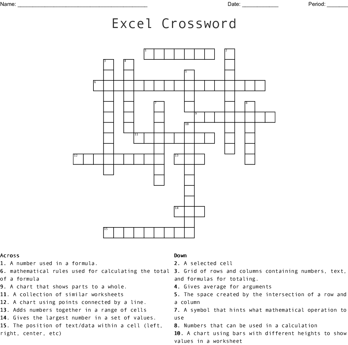 Graph And Chart Terminology Crossword Wordmint