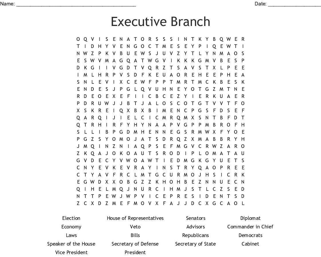Civics Worksheet The Executive Branch Answers
