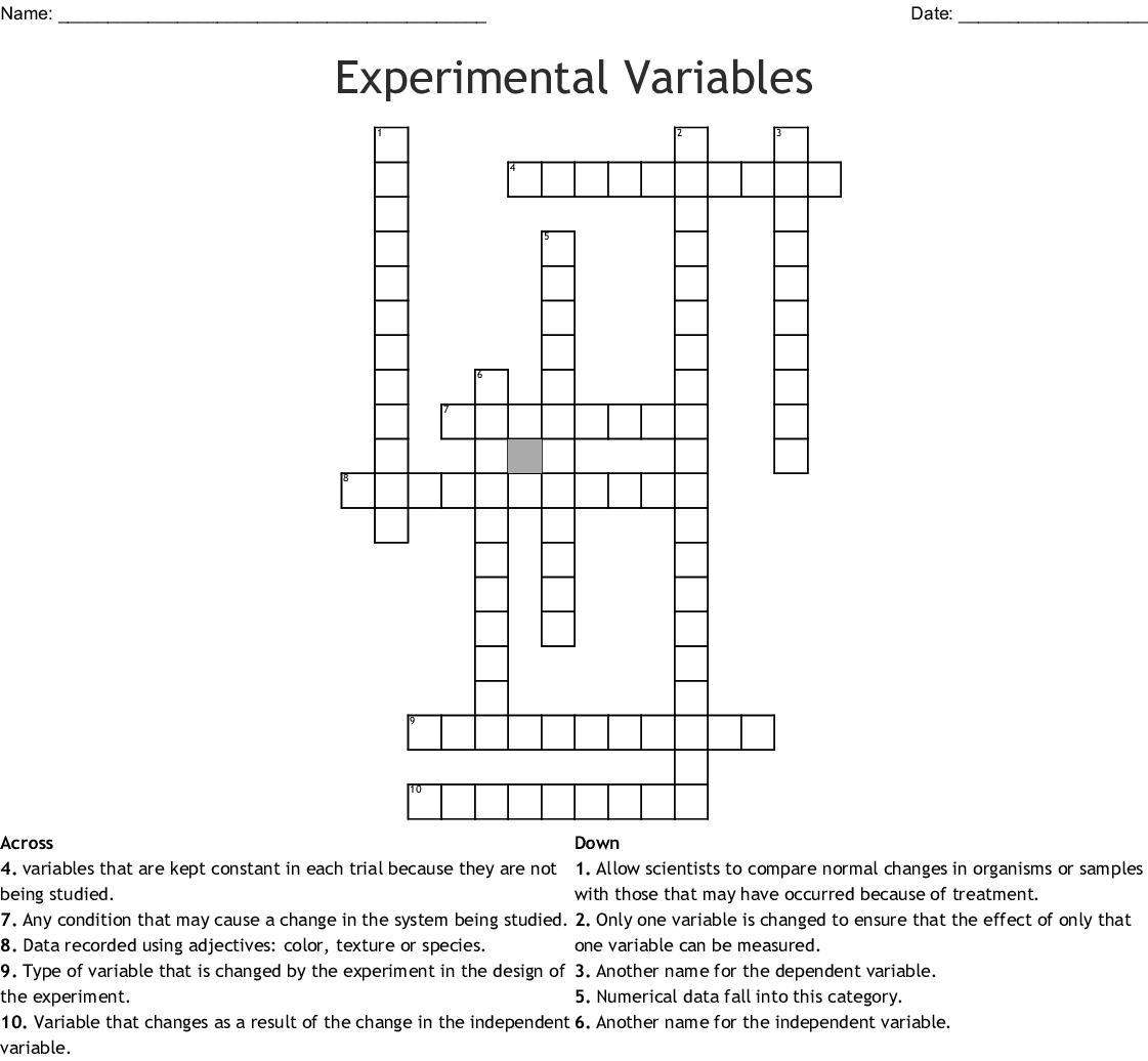 Experimental Variables Crossword Wordmint