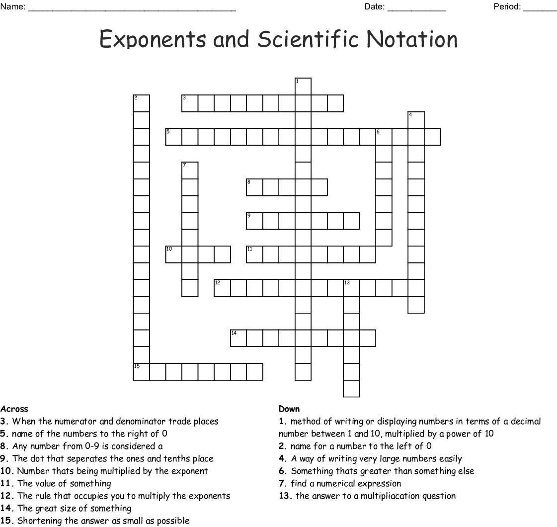 Scientific Notation Crossword Wordmint