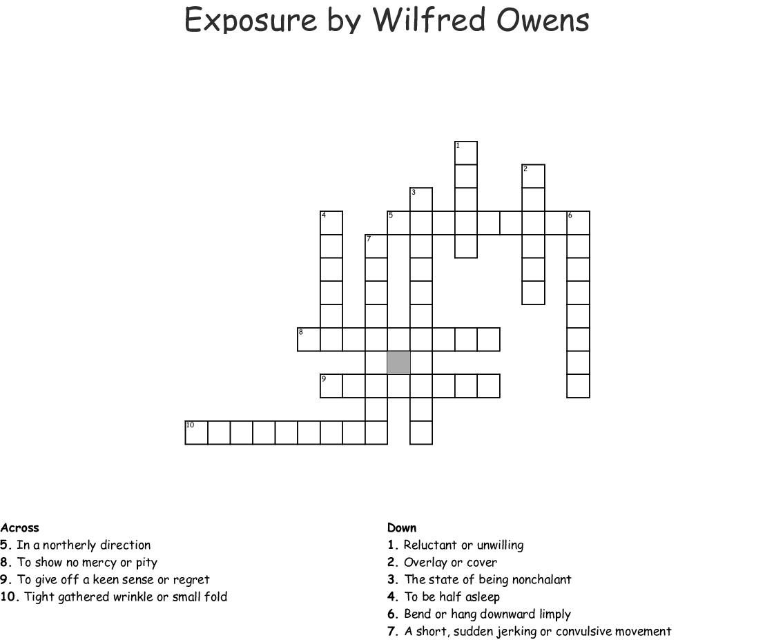 Exposure By Wilfred Owens Crossword Wordmint