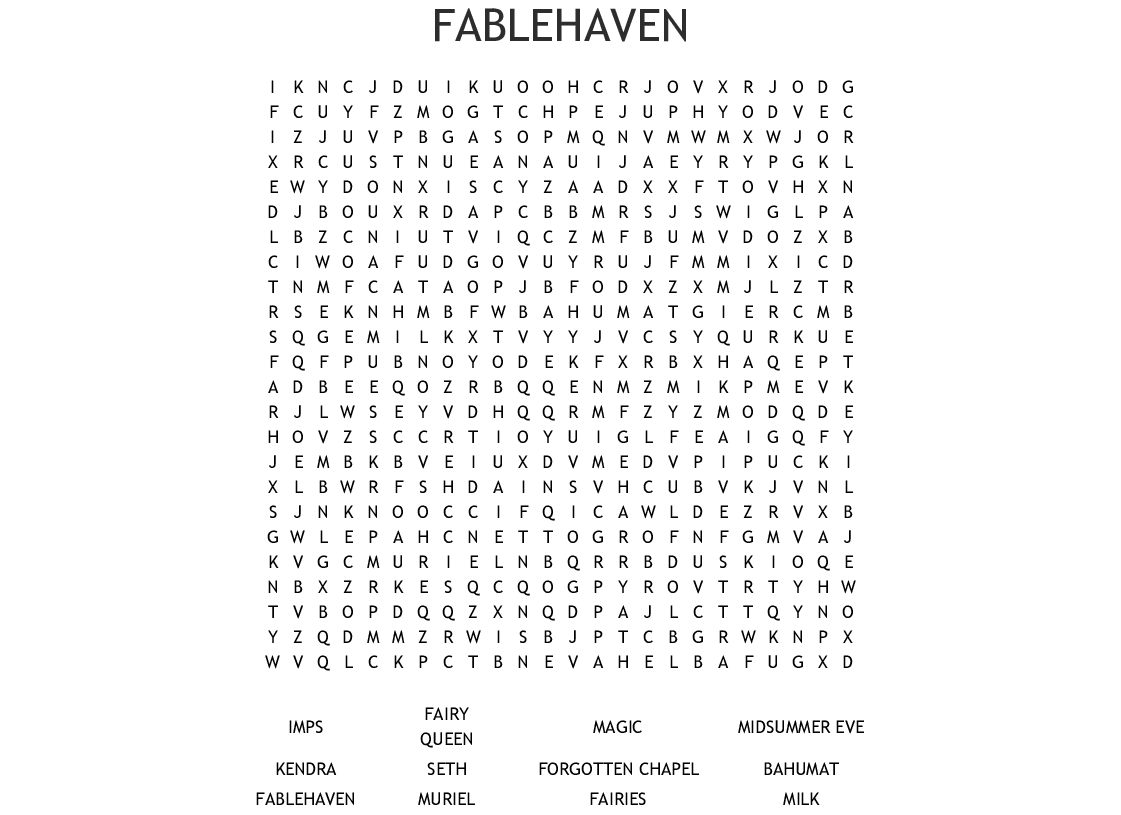 FABLEHAVEN Word Search - WordMint