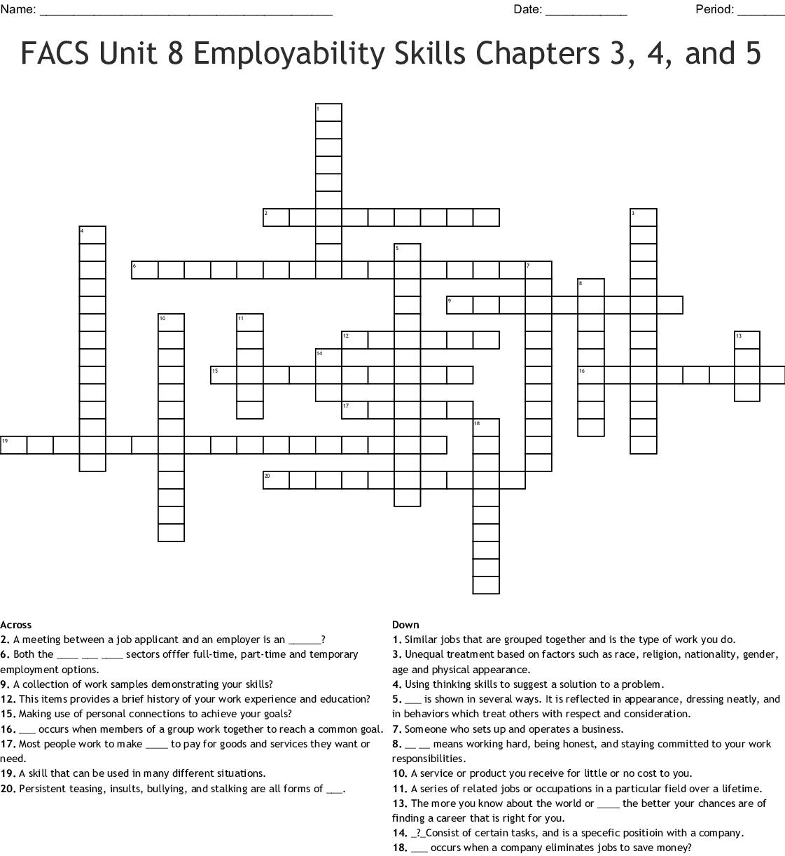 Facs Unit 8 Employability Skills Chapters 3 4 And 5 Crossword Wordmint