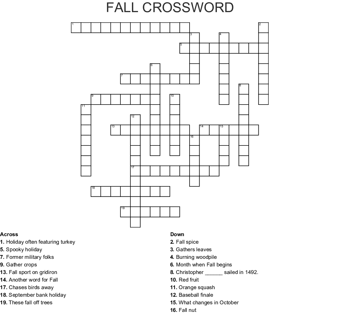 It is a photo of Sassy Fall Crossword Puzzle Printable