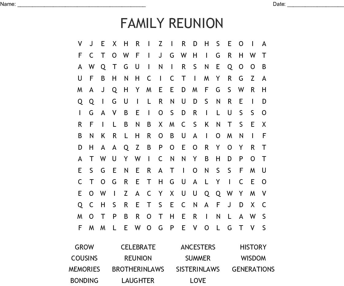 picture about Printable Family Reunion Games identified as Relatives Reunion Phrase Appear - WordMint