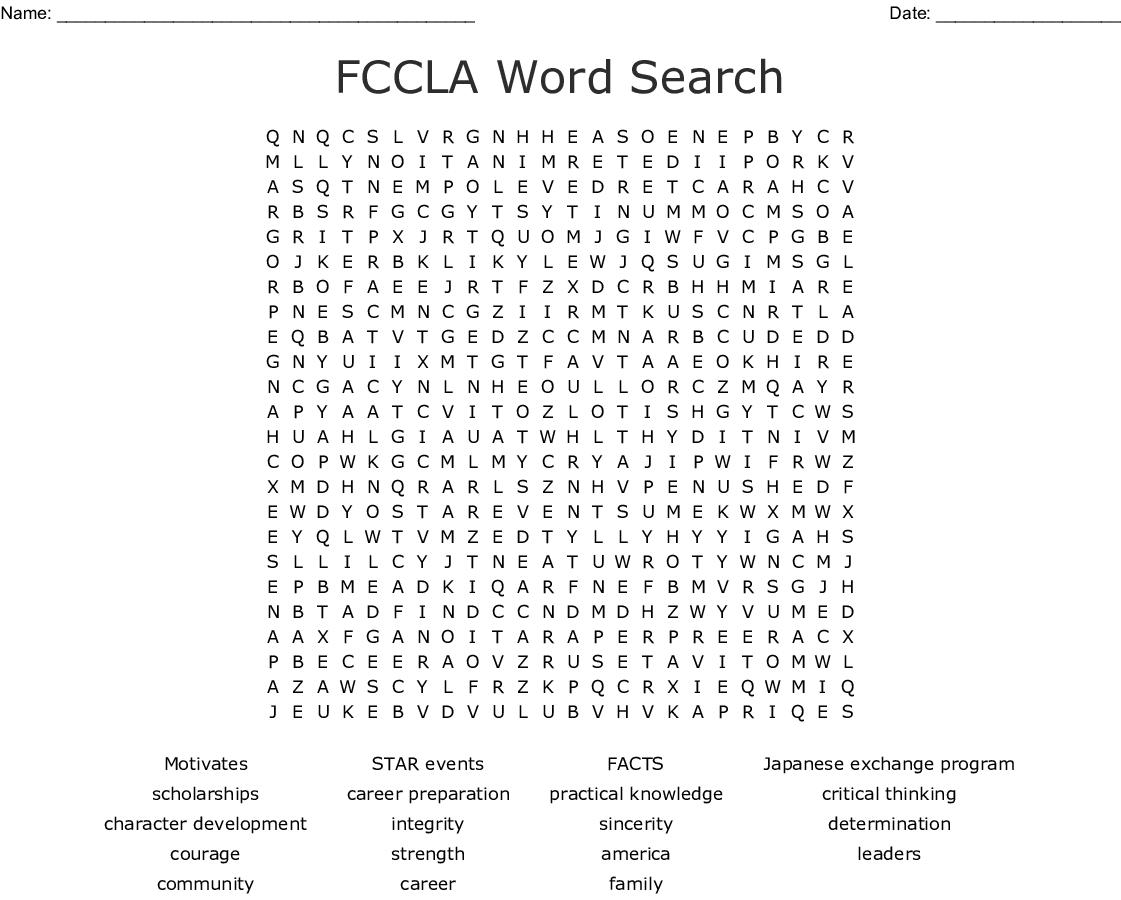 FCCLA Crossword - WordMint