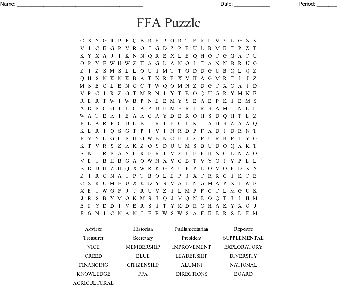 FFA Puzzle Word Search - WordMint