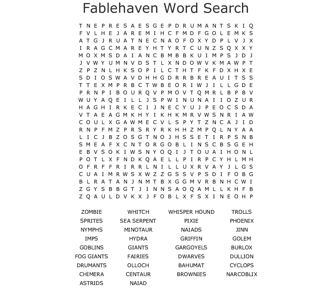 Mythical Creatures Word Search - WordMint