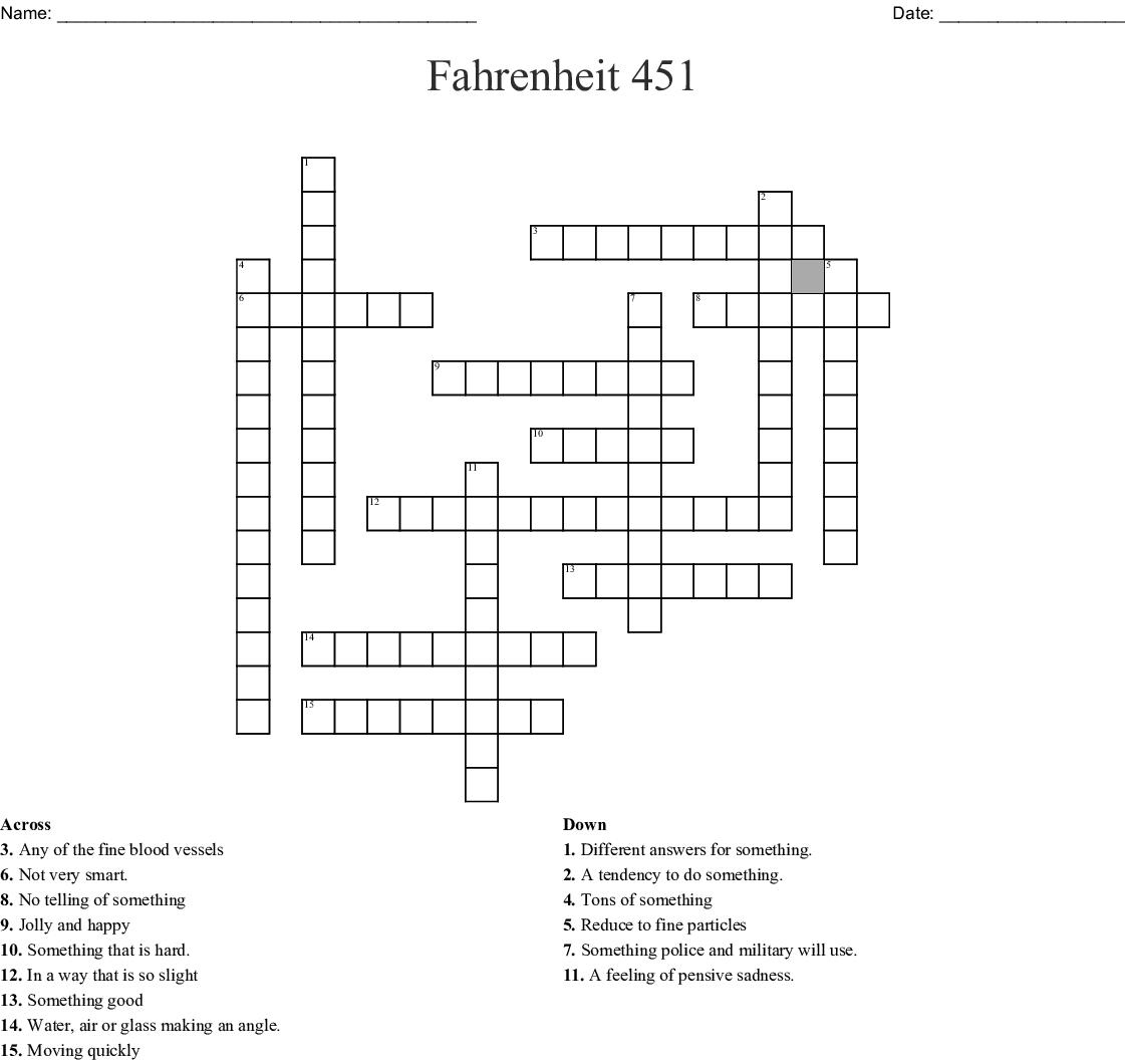 Fahrenheit 451 Crossword Wordmint