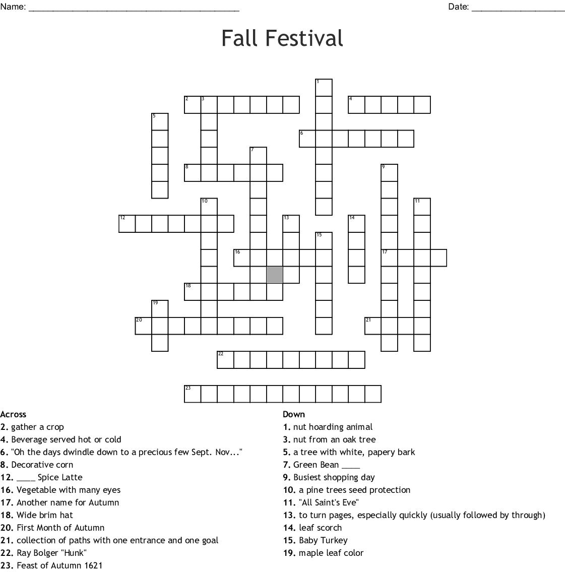 Fall Festival Crossword Wordmint