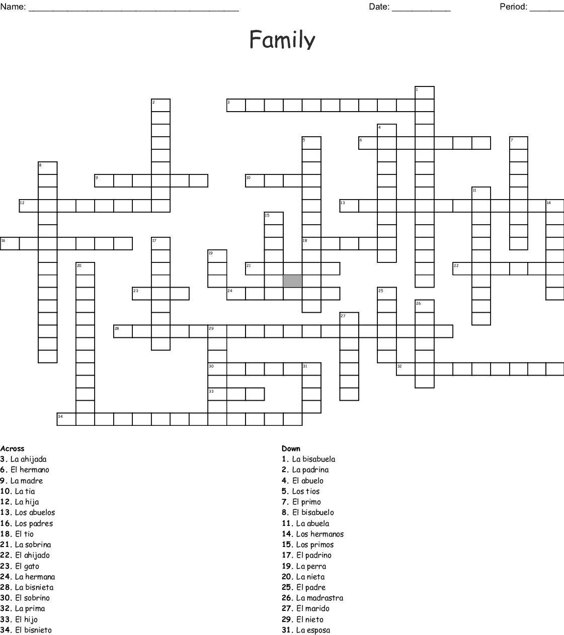 Family Members/ Miembros de la Familia Crossword - WordMint
