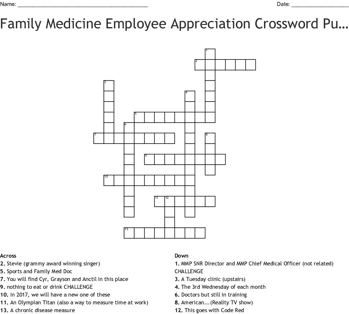 Family Medicine Employee Appreciation Crossword Puzzle Wordmint