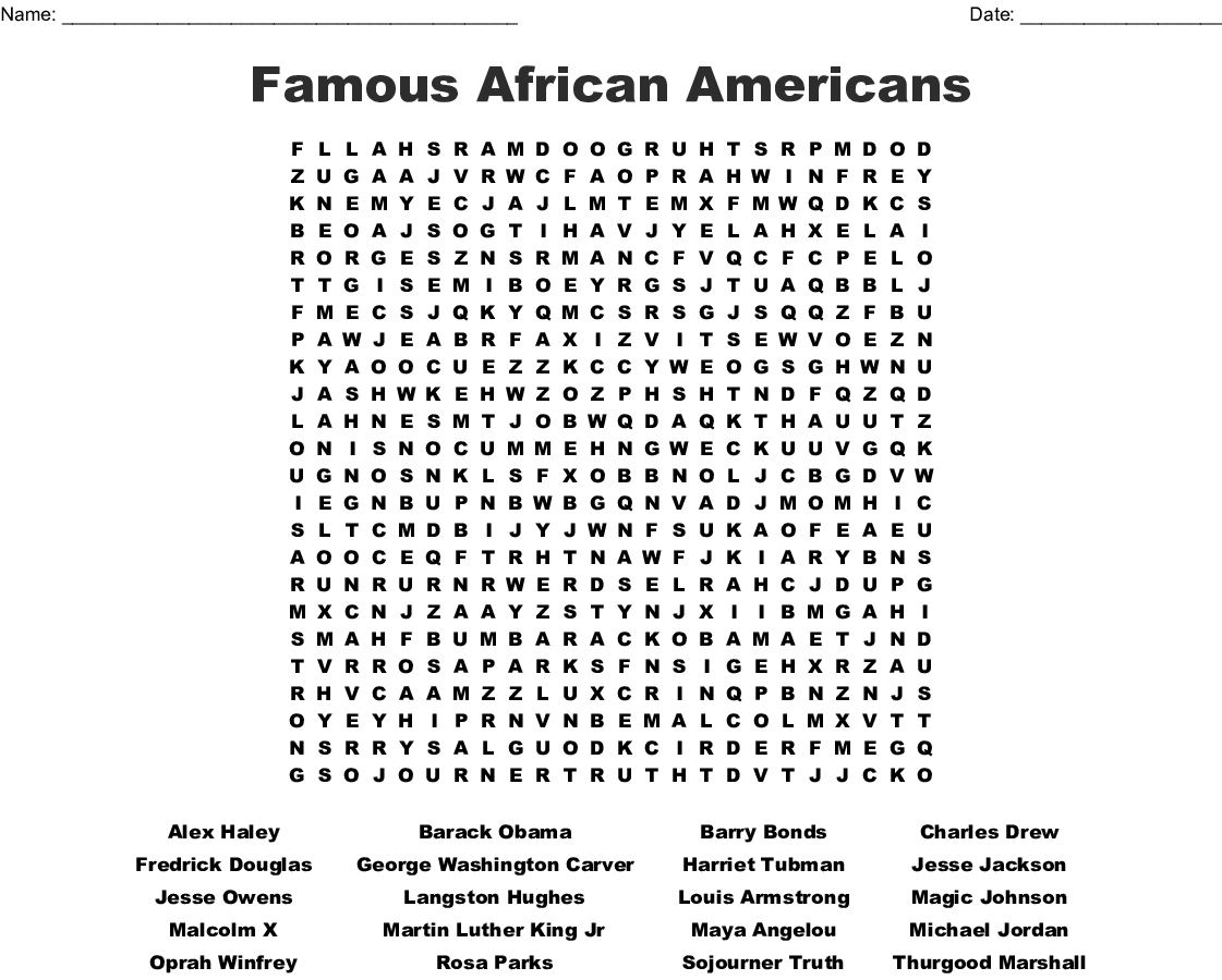 photo regarding Black History Quiz Questions and Answers Printable called Famed African American Term Glimpse - WordMint