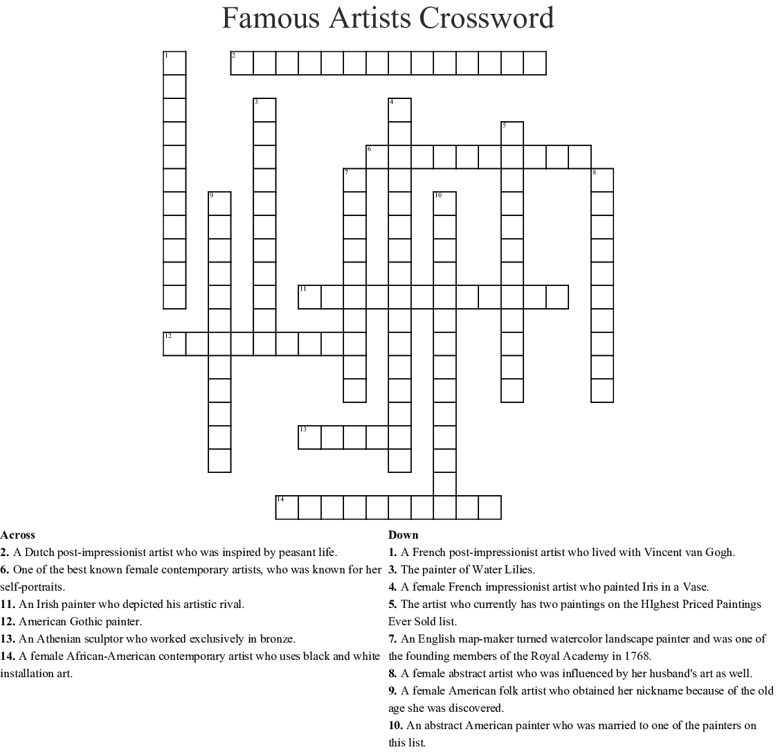 Famous Artists Crossword Wordmint