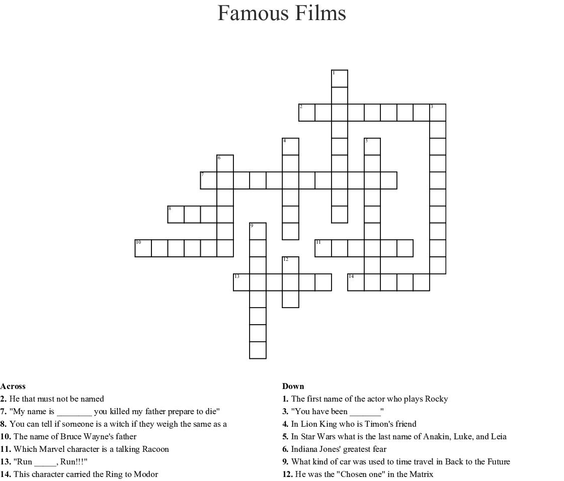 Marvel & Star Wars Crossword - WordMint