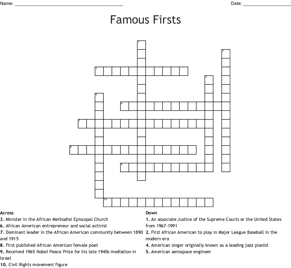 Famous Firsts Black History Month Crossword - WordMint