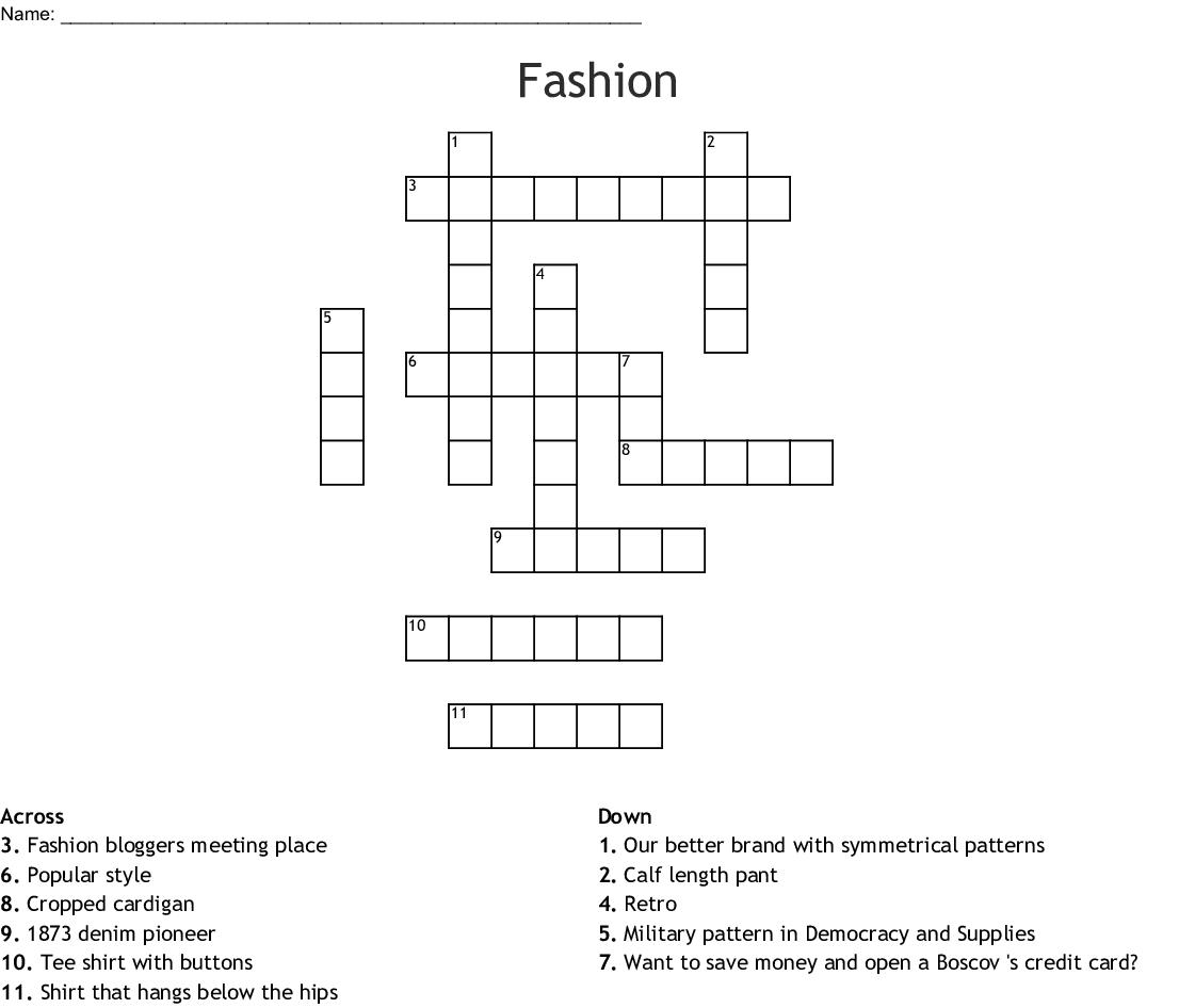 Fashion Crossword Wordmint