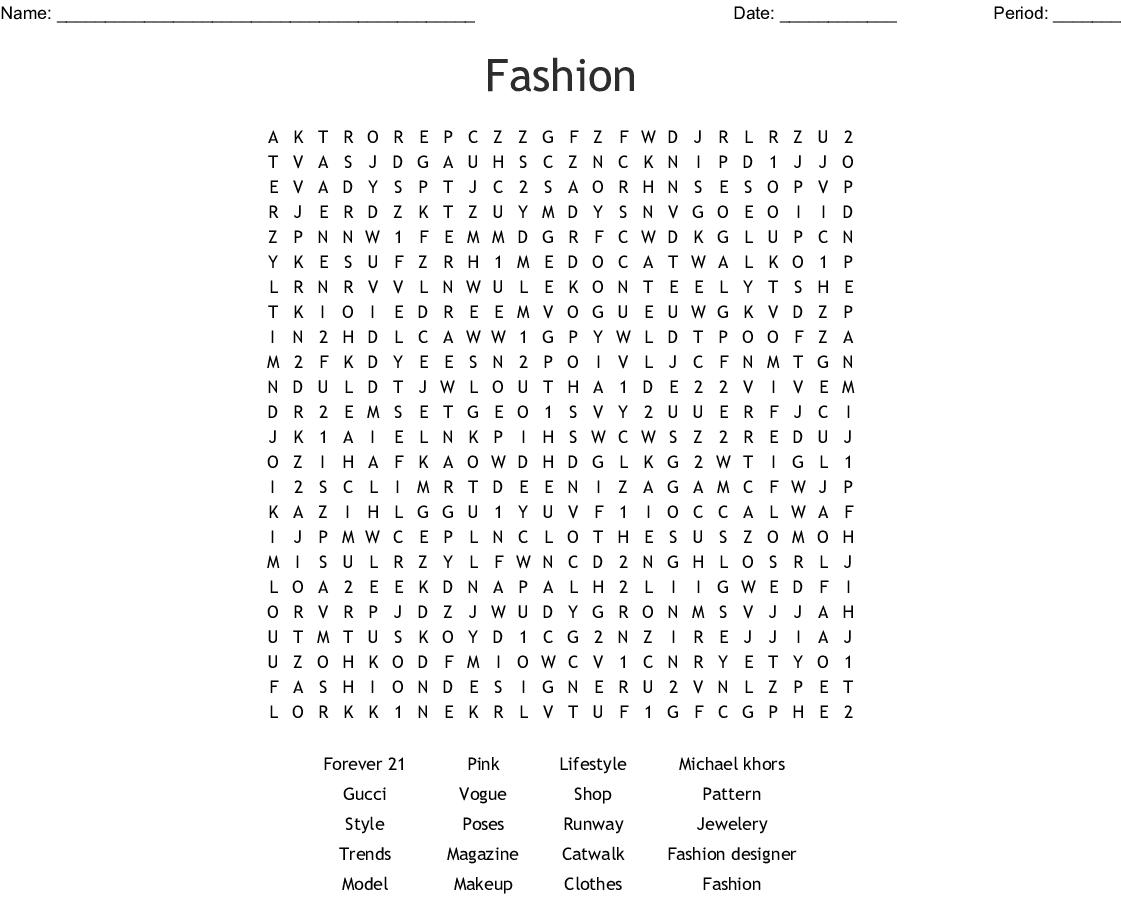 Fashion Word Search Wordmint