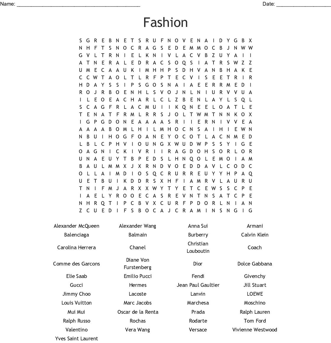 Labels Puzzle Fashion Crossword Wordmint