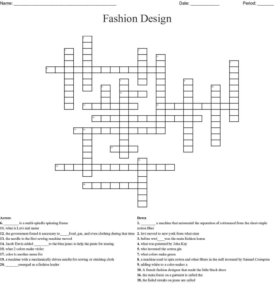 Fashionista Crossword Wordmint