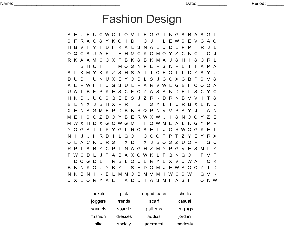 Fashion Design Word Search Wordmint
