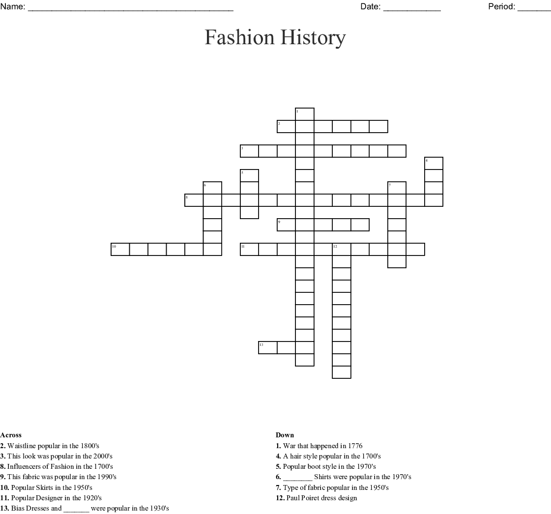 Fashion History Crossword Wordmint