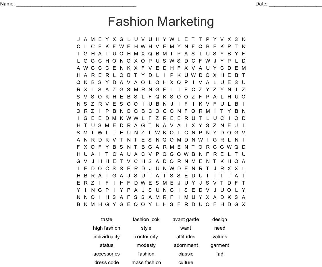 Fashion Marketing Word Search Wordmint